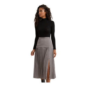 MODERN CITIZEN | Pleated Houndstooth Midi Skirt